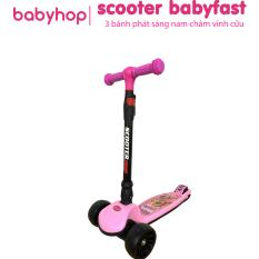 Xe trượt scooter Babyfast 3 bánh phát sáng vĩnh cửu, rèn luyện vận động & tăng chiều cao cho trẻ 2-6 tuổi