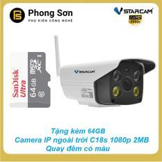 Camera IP ngoài trời C18S FHD 1080p Vstarcam, quay đêm có màu,có âm thanh,Tặng thẻ 64GB