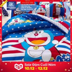 Bộ chăn ga gối Phủ Doraemon sao xanh 1m8x2m ( dùng được cho tất cả các loại đệm chiều cao dưới 35cm)