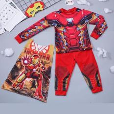 Bộ quần áo hóa trang siêu nhân người sắt kèm áo choàng và mặt nạ cho bé trai