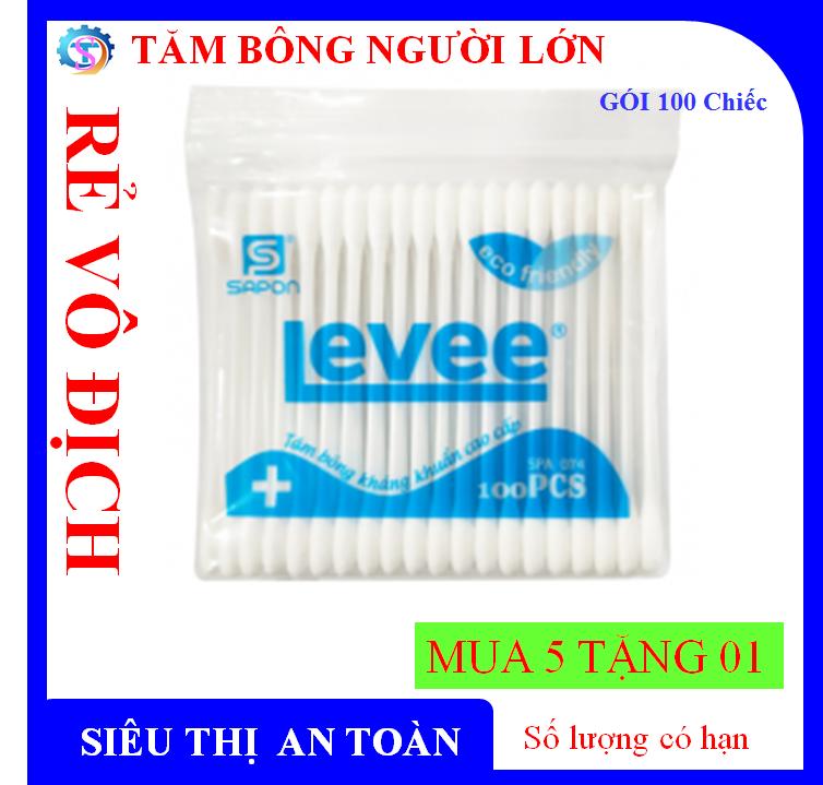 [GIÁ SỈ] [QUÀ TẶNG] Tăm bông Levee kháng khuẩn Chính Hãng thân nhựa túi zipper người lớn – 100 pcs