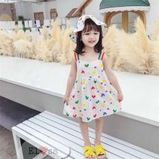 Váy bé gái HAI DÂY tim SẮC MÀU siêu xinh cho bé gái – VBG21-2day-tim+mũ