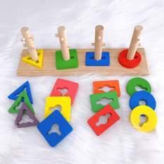 Đồ chơi gỗ trẻ em cột xếp hình 4 cọc hình khối