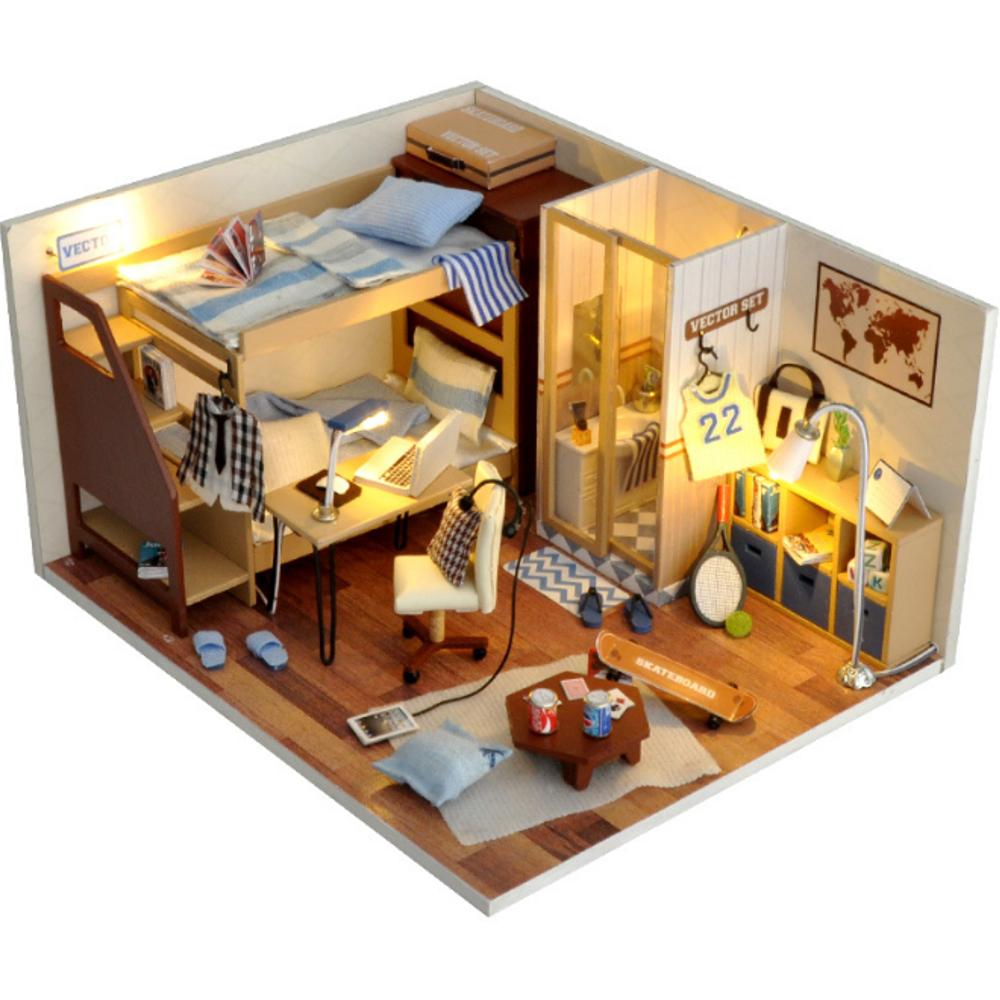 Mô Hình Nhà Tí Hon DIY :Phòng Ngủ Màu Xanh Cho Bé Trai -TW33