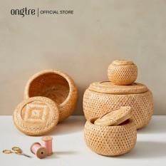 Hộp tre đan 2 lớp, có nắp đậy, đựng đồ, trang trí | ongtre® (Vietnam)