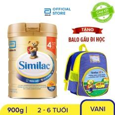 Lon sữa bột Similac IQ 4 900g Tặng Balo gấu đi học