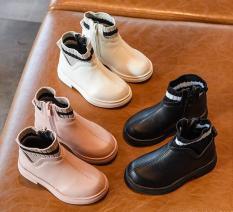 Boot bé gái cổ thấp chất liệu da phong cách Hàn Quốc phối đồ cực xinh đế mềm đi êm chân