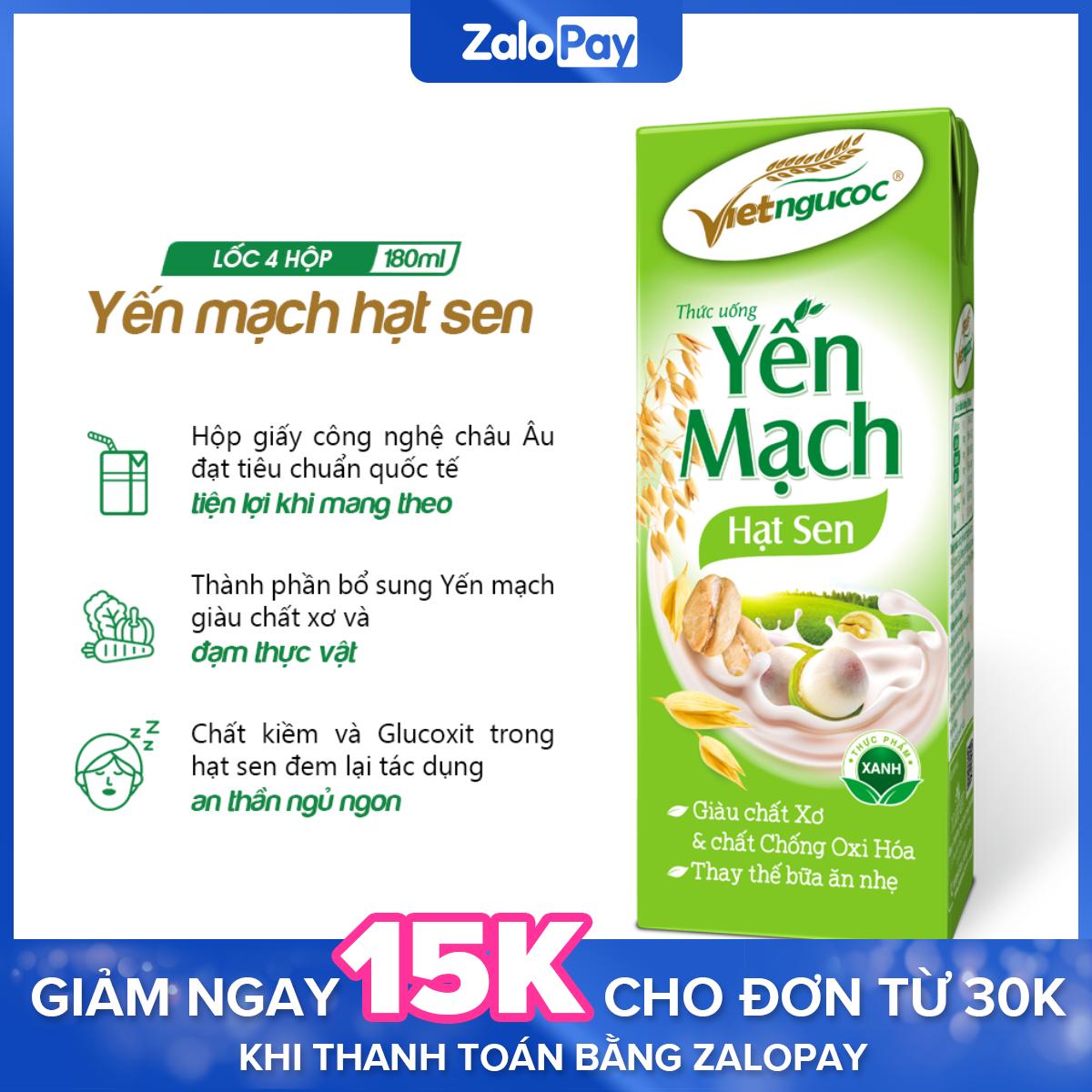 [Date 20.7.2021] Thức uống Yến mạch hạt sen Việt Ngũ Cốc lốc 4 hộp 180ml