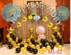 Combo 2 rèm kim tuyến + 50 bóng nhũ + bóng chữ Happy Birthday như hình (Kèm Bơm + Keo) – Hello Baby