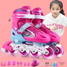 Giày trượt patin trẻ em cao cấp + Tặng kèm đầy đủ phụ kiện (mũ bảo hiểm, bảo vệ tay chân, đồ trang trí)