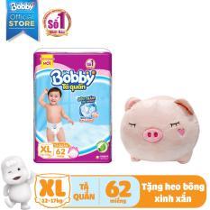 [Kèm quà] Tã quần Bobby size gói siêu lớn XL-62 miếng (12-17 kg) (hương trà xanh) – tặng 1 heo bông xinh xắn