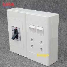 Combo ổ cắm điện đôi 2 chấu 16A (3520W) + 2 công tắc điện LiOA có cầu dao chống quá tải 15A – Lắp nổi