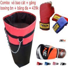 Combo vỏ bao trụ cát tập đấm bốc boxing + Găng bao tay đấm bốc boxing BN + Băng đa cuốn tay walon – Thiết bị tập đấm bốc boxing chuyên nghiệp