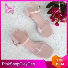 (Có mã miễn ship) Giày nữ, giày sandal PinkShopGiay gót trong kiểu dáng độc đáo phối quai trong màu hồng nhạt trẻ trung xinh xắn