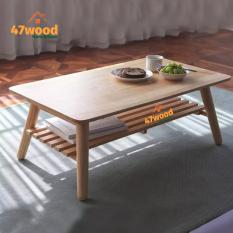Bàn trà 2 tầng xếp gọn gỗ cao su tự nhiên, kích thước 50x90cm cao 34cm – Bàn sofa 2 tầng sử dụng đa năng