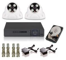 Bộ 2 Camera Dome AHD 4 Led 10413 1.0MP+ Đầu Ghi 4 Kênh+ Ổ Cứng 250GB