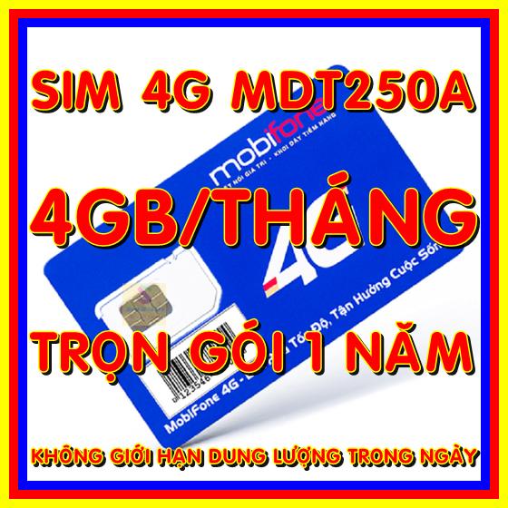 [Nhập LZDEL51 giảm 10% tối đa 200k cho đơn 99k] Sim 4G trọn gói 1 năm không nạp tiền 4Gb/tháng x12 tháng tốc độ cao 4G – Sim 4G Mobifone MDT250A – Shop Sim Giá Rẻ