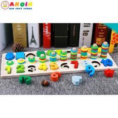 Đồ chơi giáo dục bảng số cọc đếm và hình khối đa năng 3in1 – Motessori cho bé