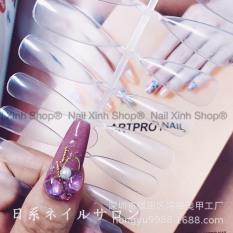 Móng Tay Giả (Móng Úp) 1 vỉ 24 Móng Đủ Cỡ, Màu Trong Suốt Tự Nhiên, Form Nhọn + Kèm Keo Dán Móng 2g,chuyên dụng design cho nail salon (24 móng/vỉ)