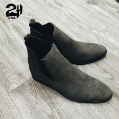 Giày nam chelsea boot da bò lộn, phối quần jean đen siêu ngầu SHOES 2H size 38-43, xám lông chuột đậm 2H-47