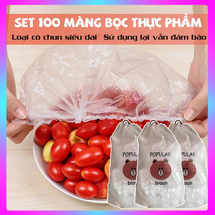 Màng Bọc Thực Phẩm ⚡ SET 100 ⚡ Màng Bọc Thực Phẩm Có Chun, Bảo Quản Thức Ăn Tiện Dụng
