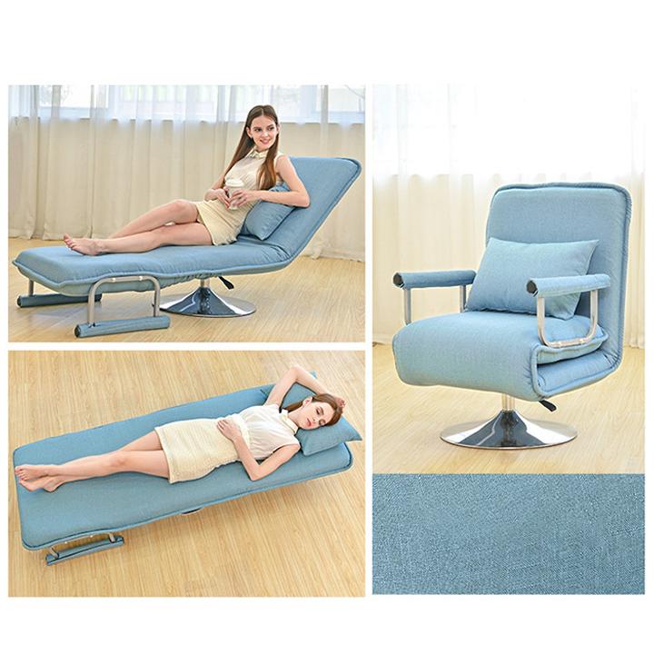 Ghế gấp, Giường gấp gọn đa năng. Ghế gấp gọn văn phòng. Ghế thư giãn hai chế độ có thể vừa làm giường và gấp gọn làm ghế tựa chất liệu siêu thoáng nệm cao su non mật độ cao siêu đàn hồi M007 KT 68×190