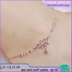 Lắc chân nữ | Lắc chân nữ bạc | Lắc chân bạc nữ [FREESHIP] Bạc S925 Màu bạc Mặt bông sen #AZLC001 – Azone Jewelry Lắc chân bạc