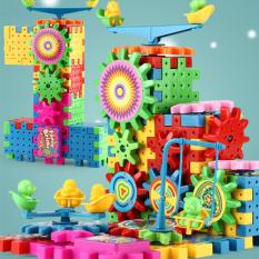 Lego ghép hình bánh răng, đồ chơi lắp ráp có pin, ghép hình sáng tạo có pin quay bánh răng