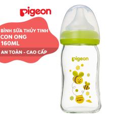Bình sữa cổ rộng thuỷ tinh Plus Pigeon 160ml – Con Ong (SS)