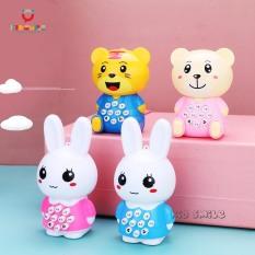 Đồ chơi trẻ em điện thoại phát nhạc và đèn nháy hình thỏ, hổ, gấu dễ thương cho bé vui chơi giải trí phát triển kỹ năng cầm nắm nghe nhìn (KHÔNG LẮP SẴN PIN)