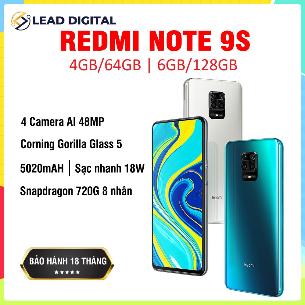 [BẢN QUỐC TẾ] Điện thoại Xiaomi Redmi Note 9S 4GB/64G | 6GB/128GB – FULL TIẾNG VIỆT, Snapdragon 8 nhân 720G, Màn hình 6.67 inches, Pin siêu khủng 5020mAh sạc nhanh 18W, Camera 48MP/8MP/5MP/2MP góc siêu rộng – BH 18 tháng