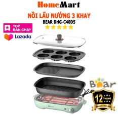 [ SIÊU HÓT 2020 ] Nồi Lẩu Nướng đa năng 3 khay (lẩu, nướng, chiên xào) 4L cao cấp Bear DHG-C40D5 (Hàng chính hãng – Bảo hành 12 tháng) – HomeMart