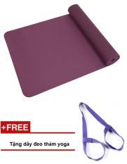 Thảm tập yoga 1 lớp TPE Eco 8mm cao cấp (tím) + tặng dây đeo thảm