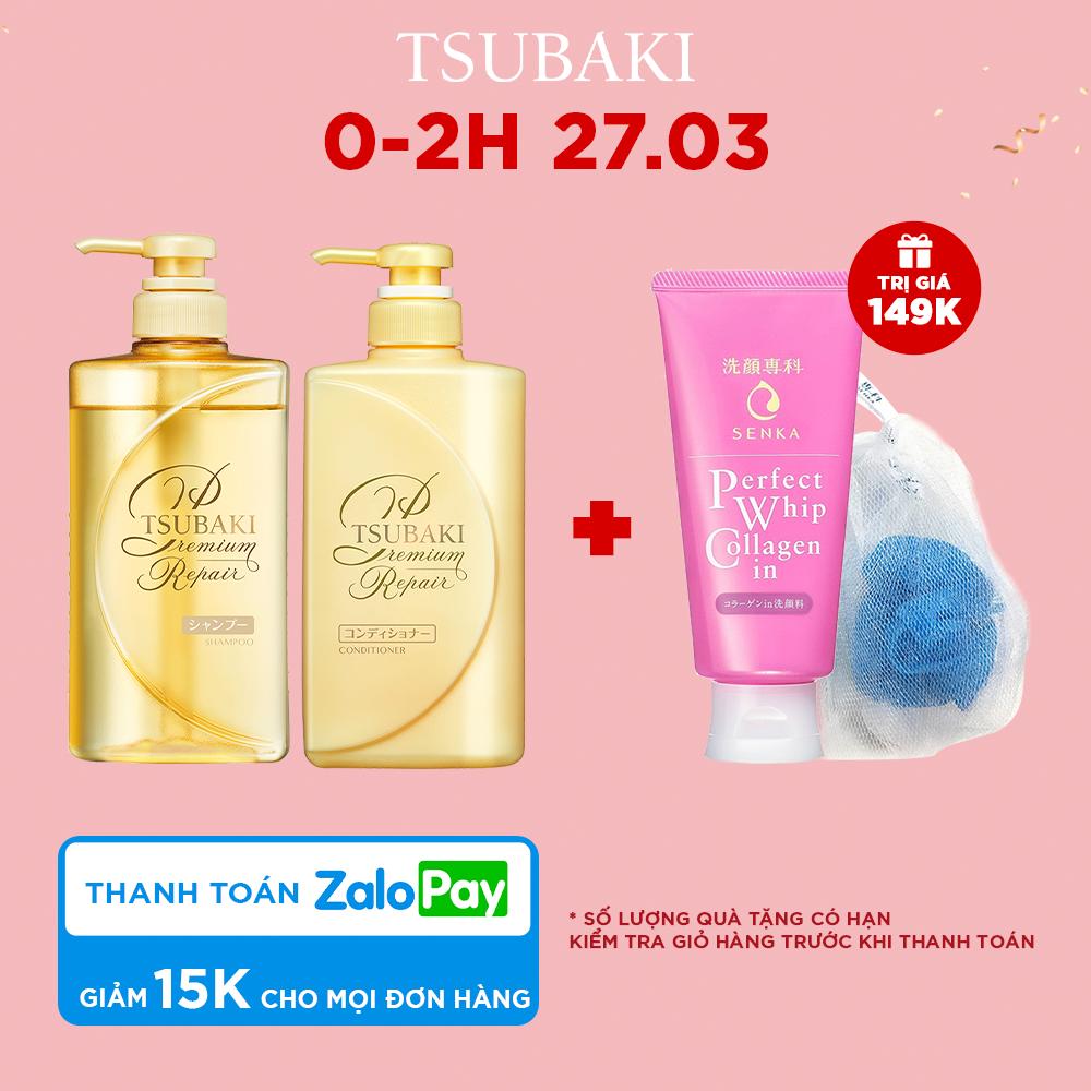 Bộ đôi dầu gội xả phục hồi ngăn rụng tóc Tsubaki Premium Repair