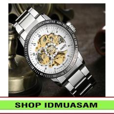 [Có video quay thật] Đồng hồ cơ tự động dây thép không gỉ Nary IDMUASAM 6091 (Mặt trắng)