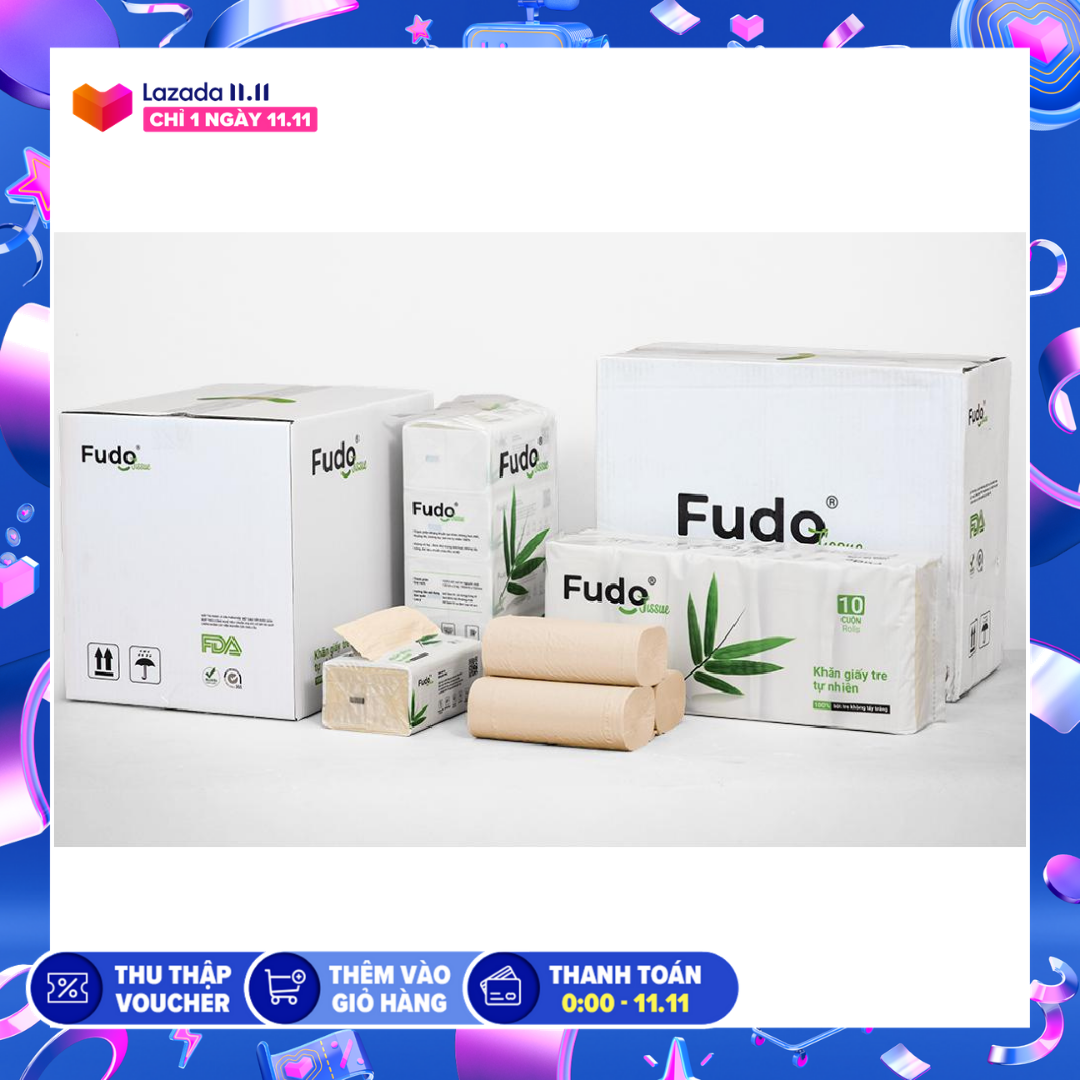 Khăn giấy tre Fudo – Combo (20 gói giấy rút (1 thùng) + 30 cuộn không lõi (1 thùng)) – Giấy vệ sinh Fudo: 100% bột tre, không tạo mùi, không tẩy trắng