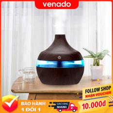 Máy phun sương tạo độ ẩm khuếch tán tinh dầu Led Trong suốt 7 màu Vân Gỗ tự động tắt khi hết nước – Venado