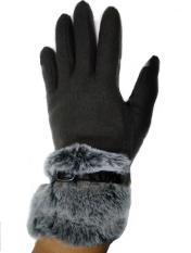 Găng tay dạ nữ cổ lông Akanoren – Nhật Bản (Xám đậm)