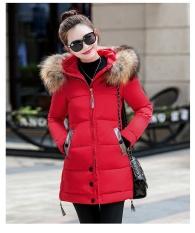 Áo khoác phao nữ phối lông siêu xinh ( màu đỏ) AK015DO