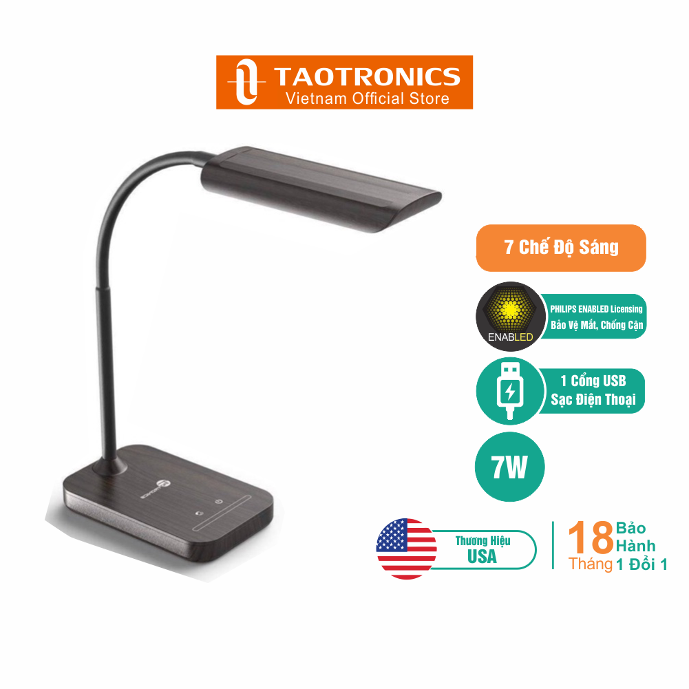 Đèn Bàn Học LED TaoTronics Chống Cận Và Bảo Vệ Mắt TT-DL11 7W, 7 Mức Sáng, 1 Cổng USB Sạc Điện Thoại – Độc Quyền Chính Hãng