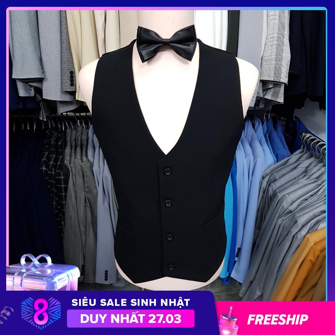 [HCM]Áo gile nam ôm body màu đen chất vải dày mịn co giãn tặng nơ đen