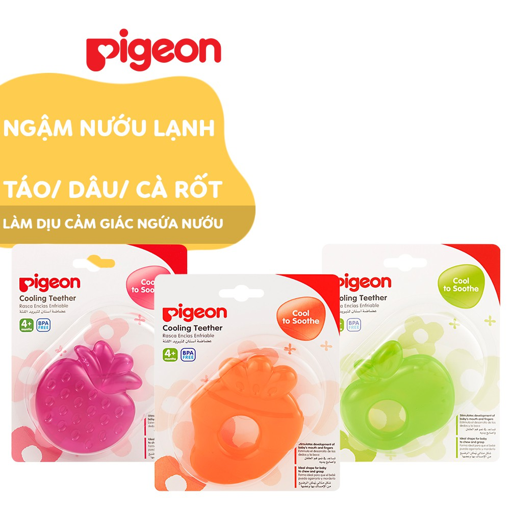 Ngậm nướu lạnh Pigeon táo / dâu / cà rốt cho bé từ 4 tháng tuổi