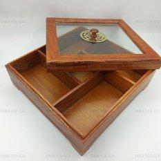 Khay Đựng Bánh Kẹo Ngày Tết bằng Gỗ Hương nắp kính- hộp vuông – khay đựng mứt tết bằng gỗ