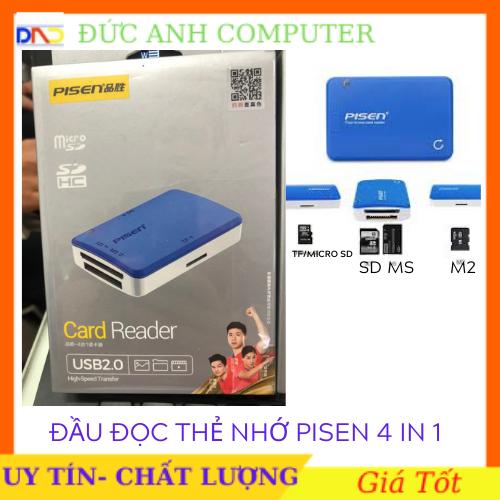 [Nhập NEWSELLERW503 giảm 10% tối đa 100K] Đầu đọc thẻ đa năng 4 in 1 USB 20 – các khe đọc thẻ TF SD M2 MS (xanh)