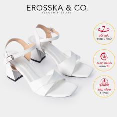Giày sandal cao gót Erosska thời trang mũi vuông quai ngang bắt chéo cao 7cm EB020 (WH)