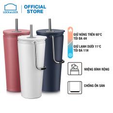 Bình giữ nhiệt có ống hút Lock&Lock Bucket Tumbler with Straw – LHC4268 – Thép không gỉ SUS304 có quai xách tiện lợi và đế chống trượt