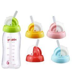 Nắp tập uống nước thay thế bình pigeon cổ rộng kèm ống mút 160ml/240ml tiện lợi
