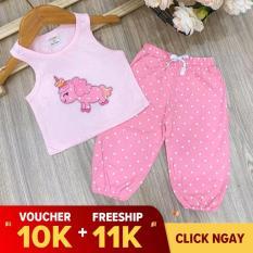 [tặng ngay 10k] Bộ alibaba sát nách vải cotton thoáng mát họa tiết dễ thương cho bé gái từ 06 – 24kg [Midu] – Bộ ngố phong cách bé gái (Màu ngẫu nhiên)