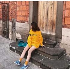 Áo Nữ Hoodie Da Cá Tay Dài Form Rộng Thời Trang Hàn Quốc