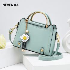 Túi xách tay nữ da trơn móc khóa hoa cúc thương hiệu NEVENKA N9291